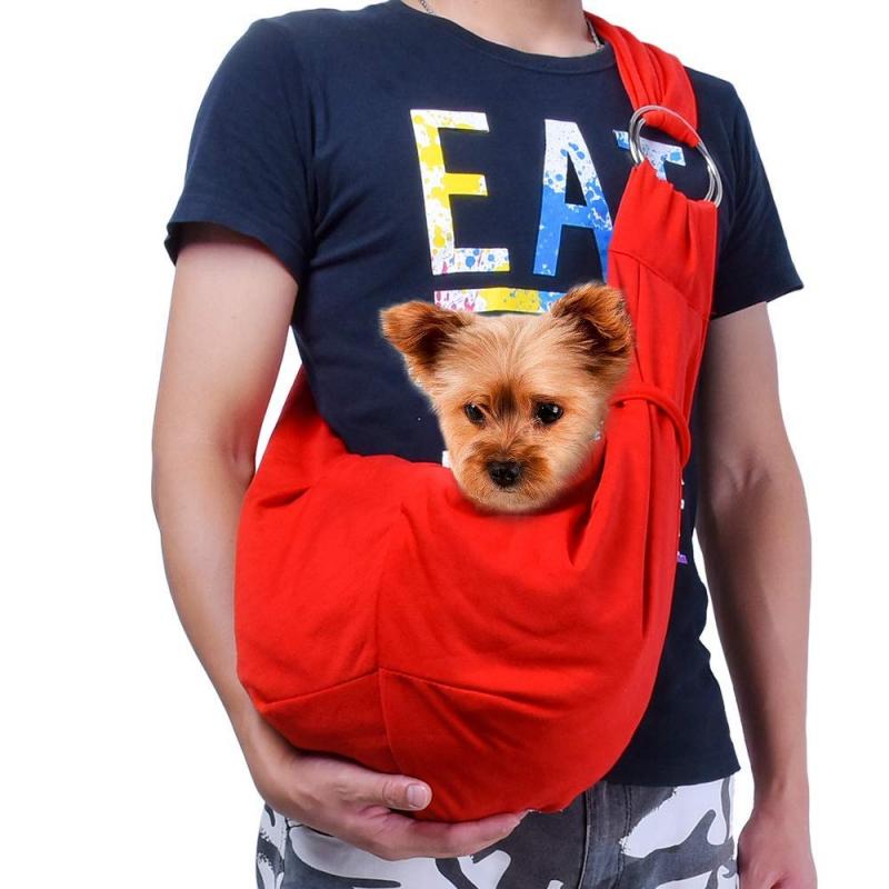 TOMKAS Pet Puppy Outdoor Travel Bag – Red-Adjustable