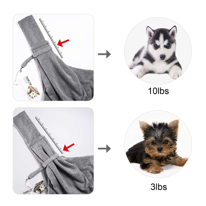 TOMKAS Pet Puppy Outdoor Travel Bag – Gray-Adjustable For Different Weight Pets
