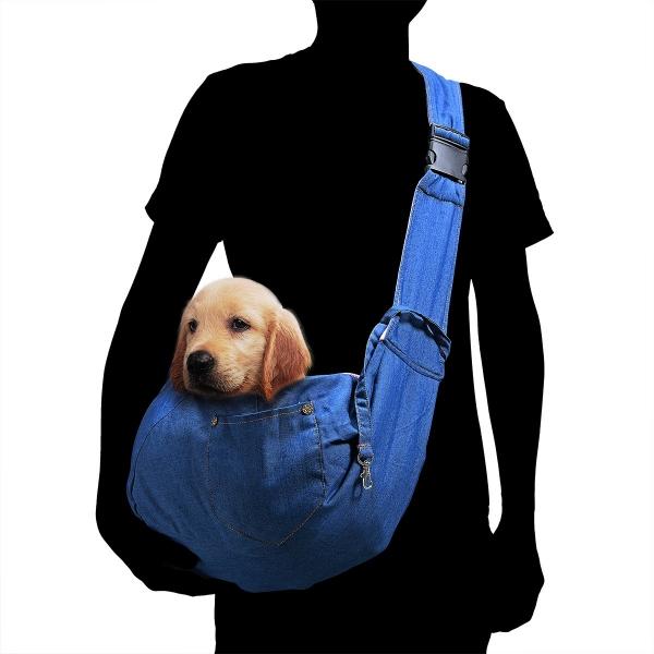 TOMKAS Pet Puppy Outdoor Travel Bag – Denim-Adjustable