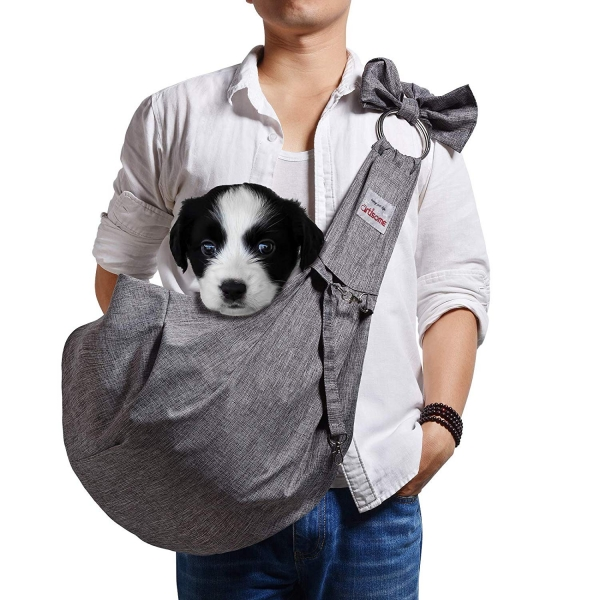 TOMKAS Artisome Reversible Medium Dogs Cats Sling Carrier Bag (Grey 8 - 15 lbs)