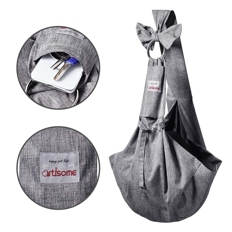 TOMKAS Artisome Reversible Medium Dogs Cats Sling Carrier Bag (Grey 8 - 15 lbs) - Detials 1