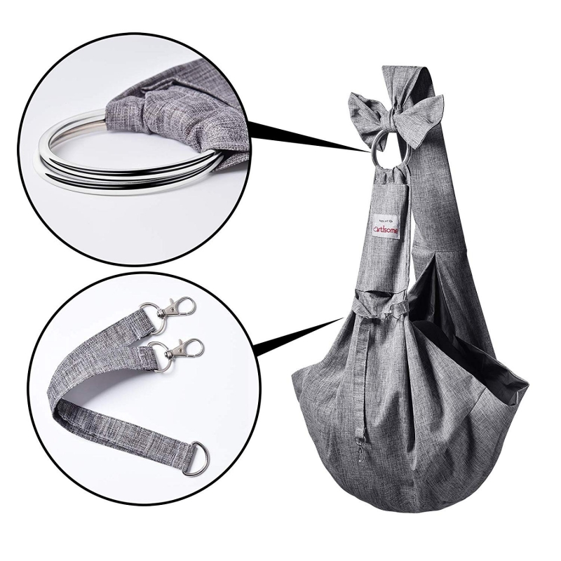 TOMKAS Artisome Reversible Medium Dogs Cats Sling Carrier Bag (Grey 8 - 15 lbs) - Detials 2