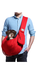 Red Small Dog Carrier Sling